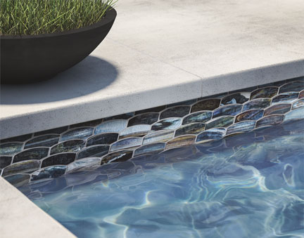 Lunada Bay Tile JAW (Just Add Water) glass tile pool borders