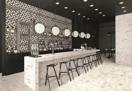 Alpine Winter featured as a wrap-around bar and on a wall