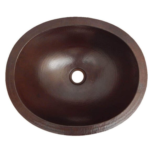 dark oval mexican copper bathroom sink - tilesandtiles