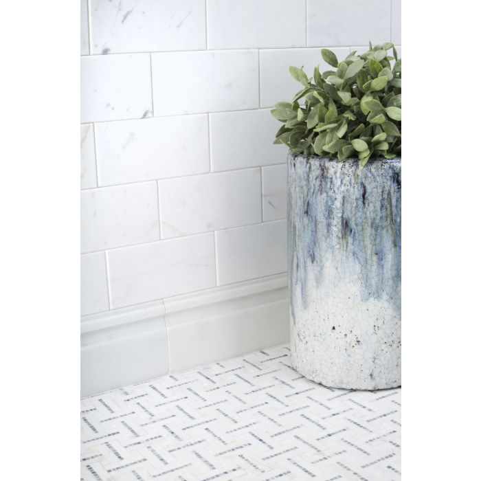 park place wall street white 3x6 beveled tile