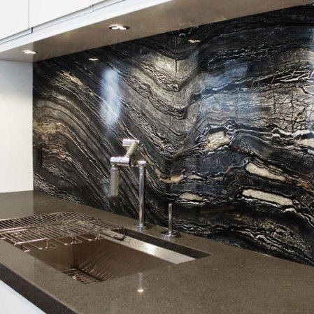 Ancient Woodgrain Bolder Panel installed as a backsplash