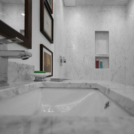 Bianco Carrara Marble Tile installed