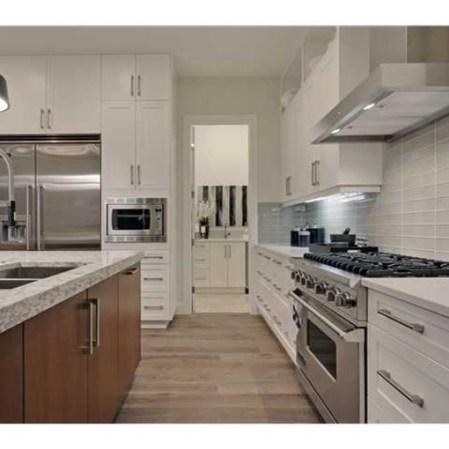 Element Mist tile installed as a kitchen back splash