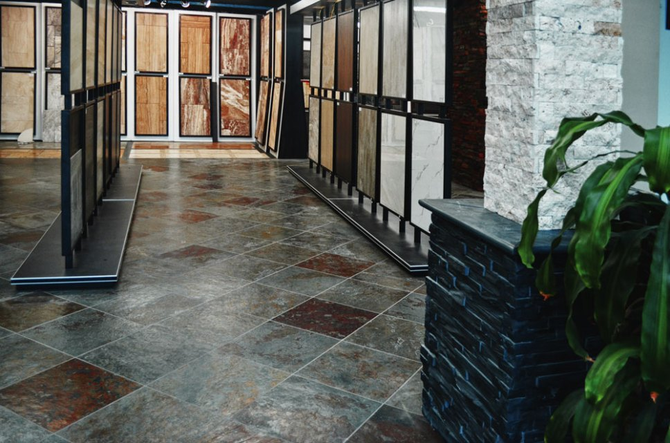 Porcelain Tile Racks in the Stone Source - Tile Source International Showroom