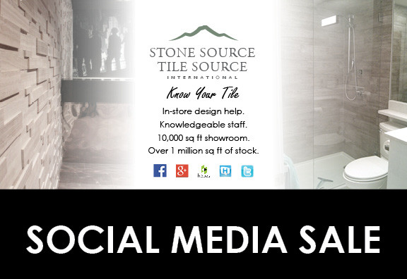Stone Source - Tile Source International social media sale postcard. Know Your Tile. In-store design help. Knowledgeable staff. 10,000 sq ft showroom. Over 1 million sq ft of stock.