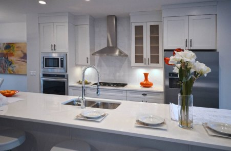 Bianco Carrara 12 x 24 Marble installed as a backsplash in a kitchen