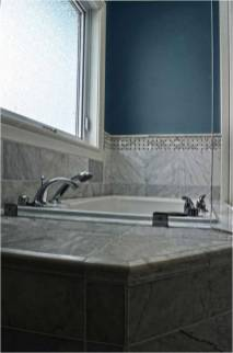 Bianco Cobalt marble installed on a bathtub