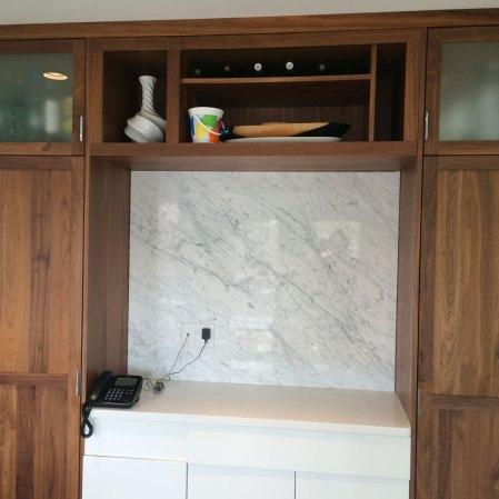 Bianco Carrara Bolder Stone Panel installed as a backsplash