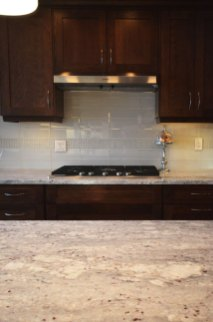 Element Ice Glass Tile installed as a backsplash