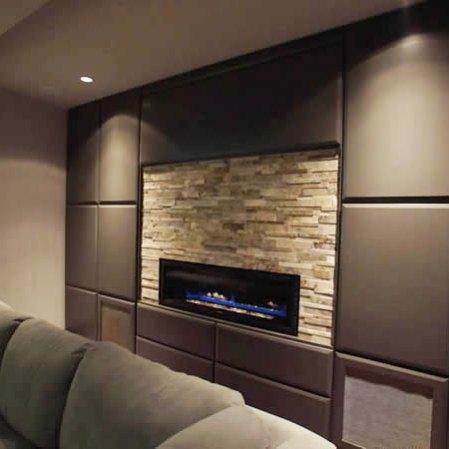 Silver Cubic Random Strip Ledgestone installed around a fireplace