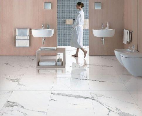 Marble Imitation Statuario installed in a bathroom