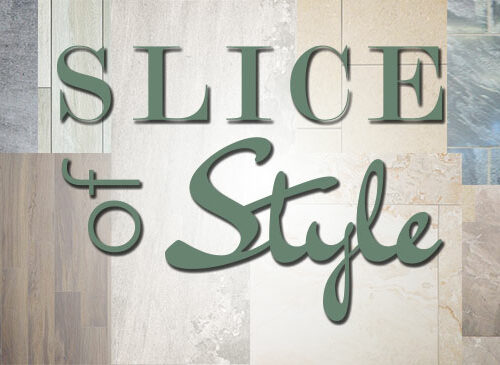 Slice of Style logo against samples of porcelain and stone tile