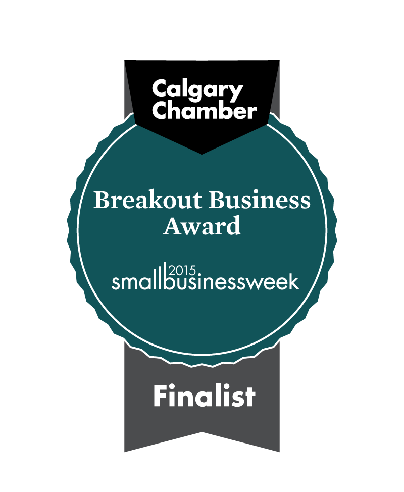 A badge for the Calgary Chamber Finalist for the Breakout Business Award