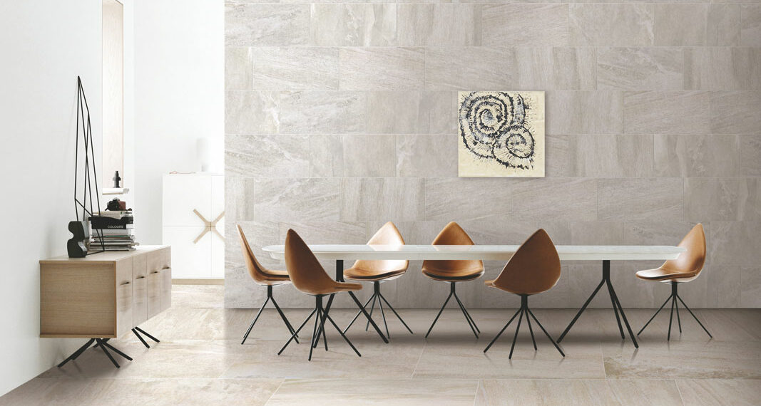 Essence Marfil Porcelain Tile installed in a dining room