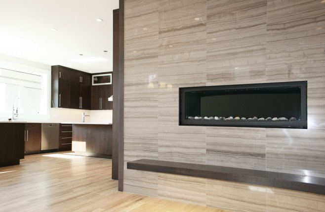 Wooden White Marble Tile installed on a fireplace
