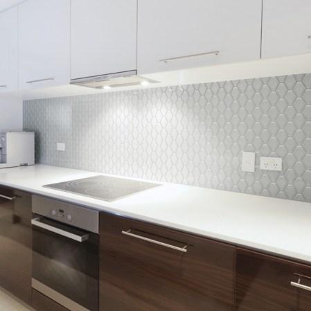 Soho Warm Grey Convex Loft Porcelain Mosaic backsplash