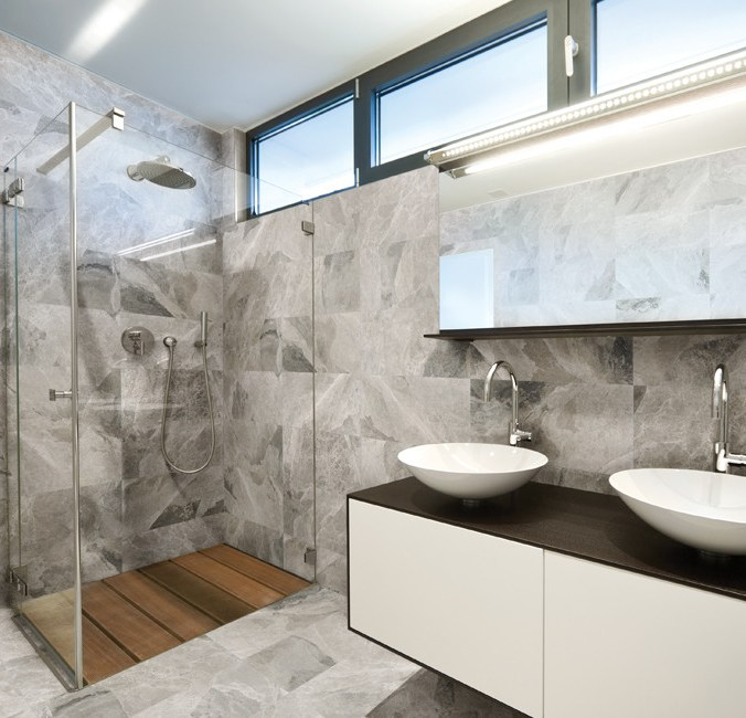 Phantasie Gray Marble installed in a bathroom