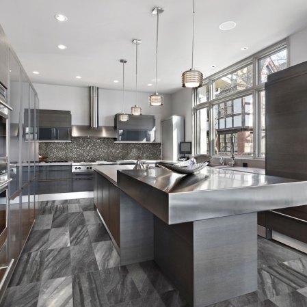 Evolution Carbon Porcelain Tile installed in a kitchen