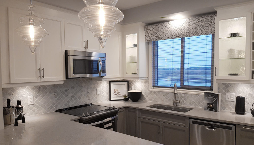 Bianco Carrara Marble Lantern Mosaic installed as a kitchen backsplash