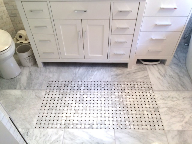 Bianco Cobalt Marble and Basketweave installed in a bathroom