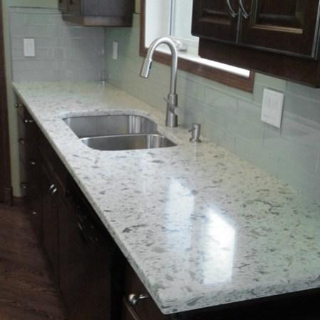 Element Mist Glass Tile installed as a kitchen backsplash