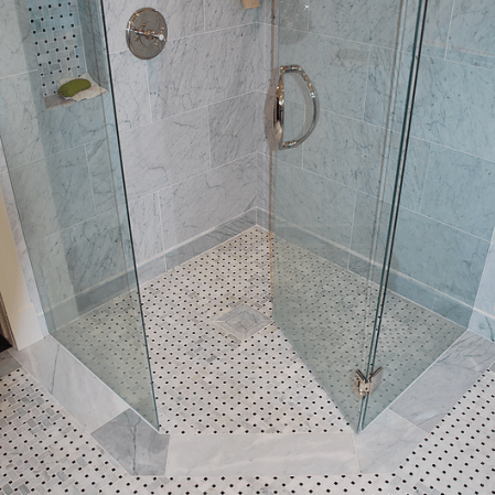 Bianco Cobalt marble installed with a marble basketweave mosaic