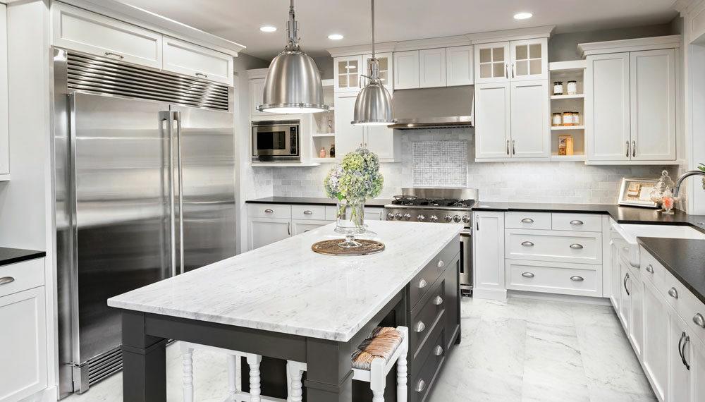 Bianco Cobalt Installed throughout a kitchen