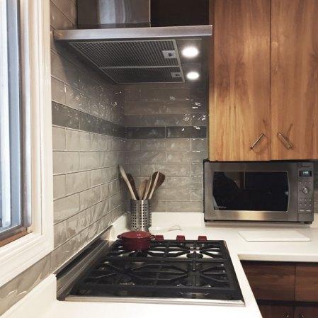 Element Mist and Smoke Artisan Glass Tiles installed in a backsplash