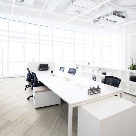Mayfair Strada Ash Porcelain Tile installed in an office