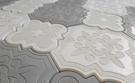 Aster White and Grey Cement Tiles in a random pattern