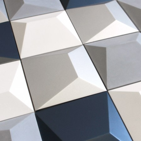 Geode Cement Tiles in Blue, White, Grey and Silver