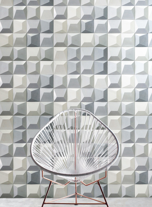 Geode Cememnt Tiles in White, Silver and Grey