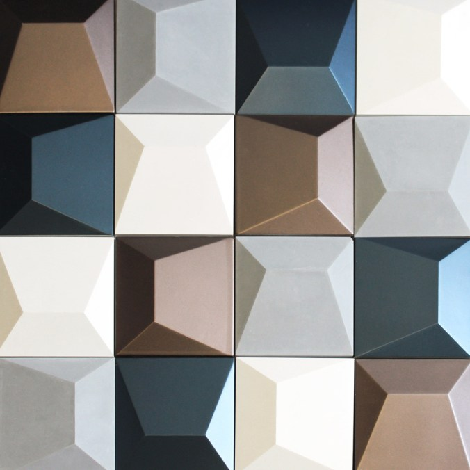 Geode Cement Tiles in White, Grey, Blue and Brown