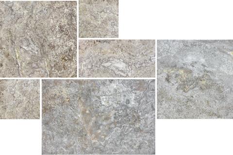 Silver Travertine Brushed and Chiseled Cobblestone Bundle
