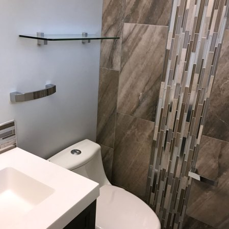 Evolution Earth and Twilight Mist installed in a powder room