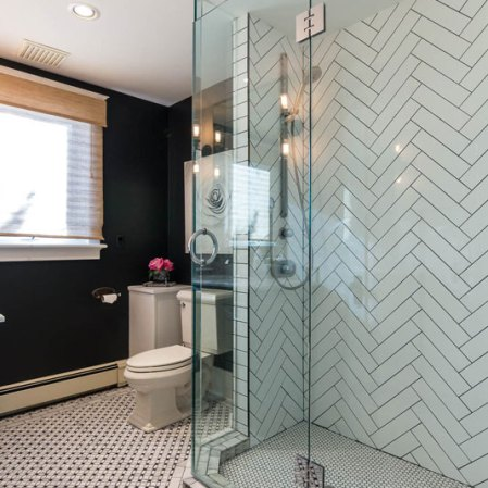 Soho White 4x16 and Penny rounds shower install