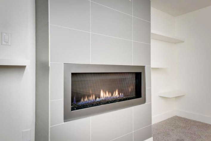 Prima Mica 12x24 Porcelain installed on a fireplace