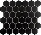 "Color Collection Black 2"" Hexagon Mosaic Matte"