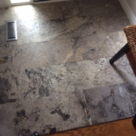 Silver Travertine 12x24 Honed Installed in Front Entrance