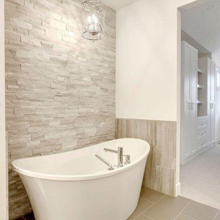Wooden Grey Splitface Bathroom Installation