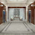 Aspen Beachcomber and Marquetry Mosaic with Statuario installed