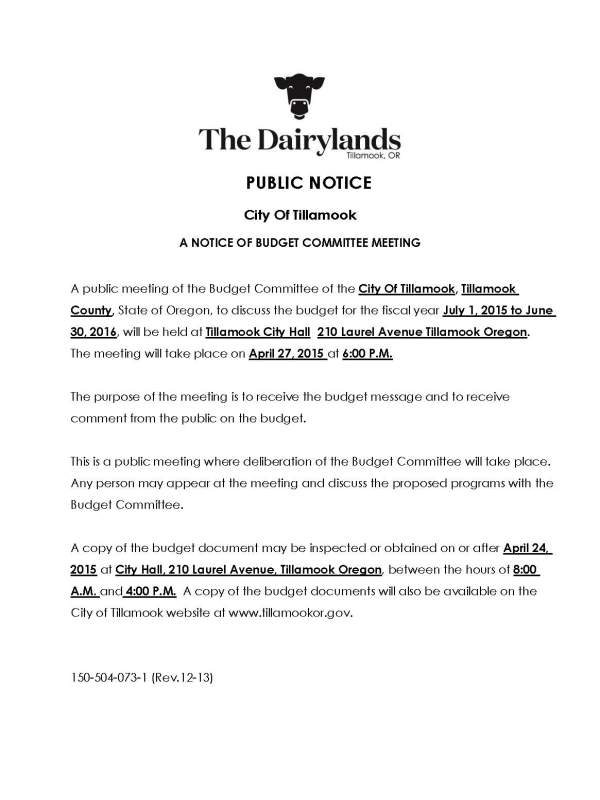City of Tillamook | City of Tillamook News & Public Notices
