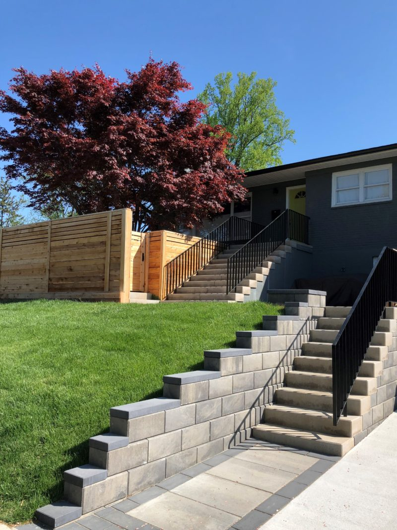 Stone steps and Paver wall