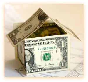 folded dollars made into house