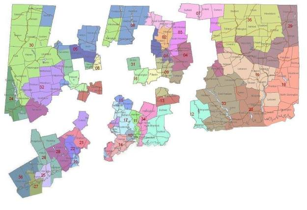 Map of CT Divided into 5 Congressional Districts