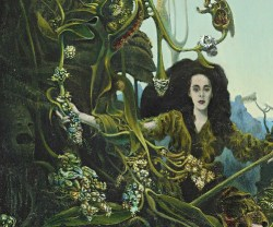 A painting of a woman behind trees-Max Ernst - Leonora in the Morning Light (1940)