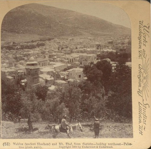 """""""Nablus (ancient Shechem) and Mt. Ebal, from Gerizim--looking northeast--Palestine (Josh xxiv)"""" by Thomas Fisher Rare Book Library, UofT is licensed under CC BY-NC 2.0"""