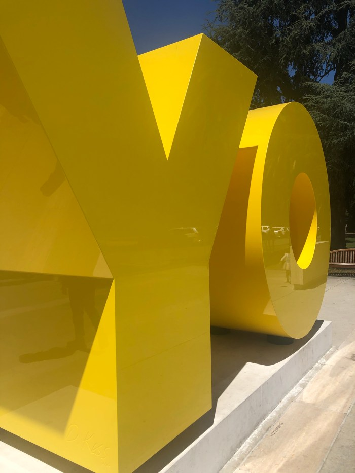 """""""OY/YO"""" at Cantor Art Center Entrance"""