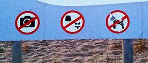 Sign on beach