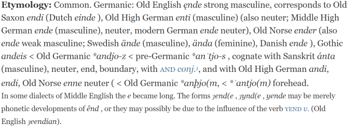 Etymology of End from the Oxford English Dictionary